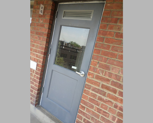 Capitol Fireproof Door Kalamein Vestibule Door with Angle Frame Panel Wire Glass Louver-Bronx-NY