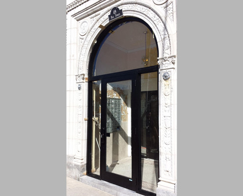 Capitol Fireproof Door Aluminum Entrance Door with Arched Transom - Newark-Bronx-NY