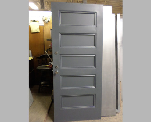 Capitol Fireproof Door Kalamein Five Panel Apartment Door with Chrome Hardware-Bronx-NY